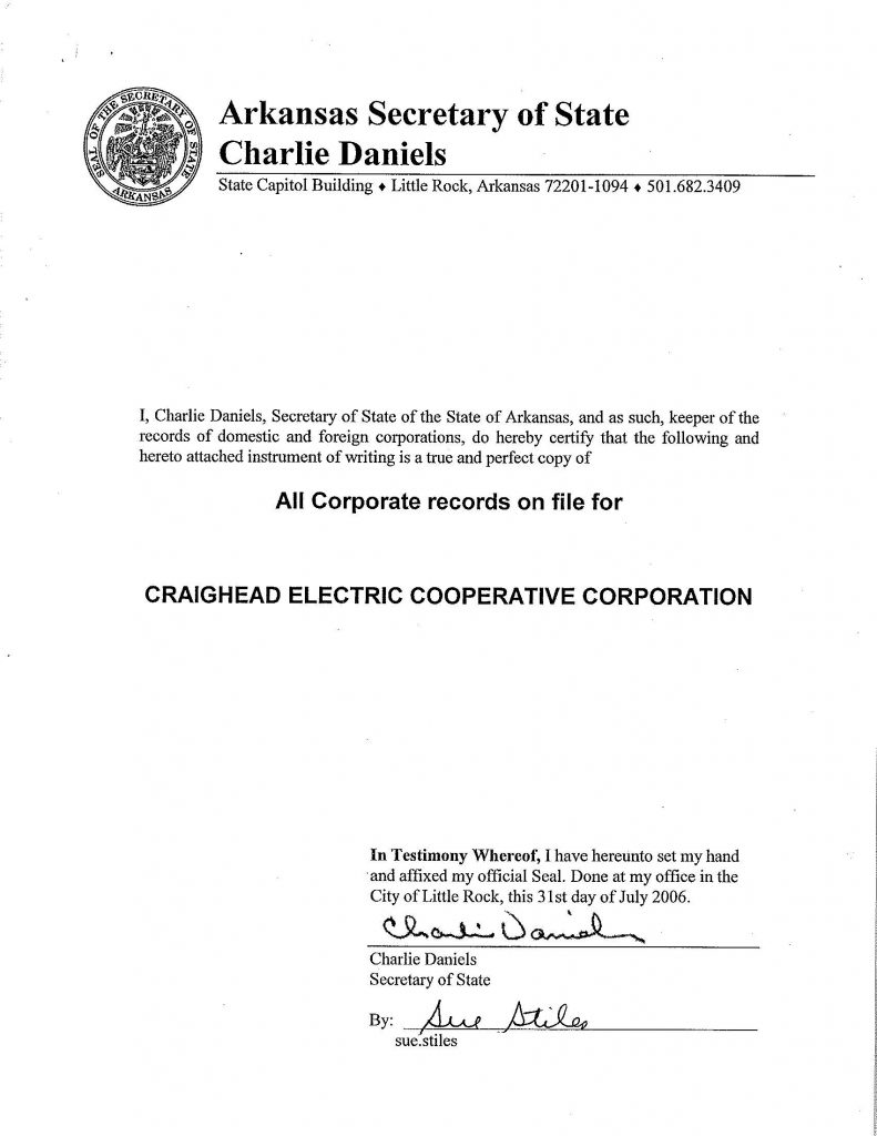 Screenshot of Articles of Incorporation