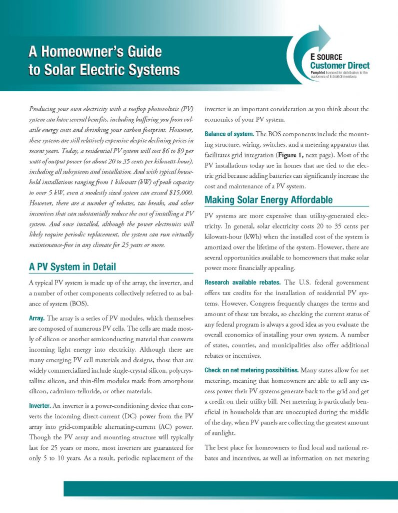 A Homeowners Guide to Solar Electric Systems