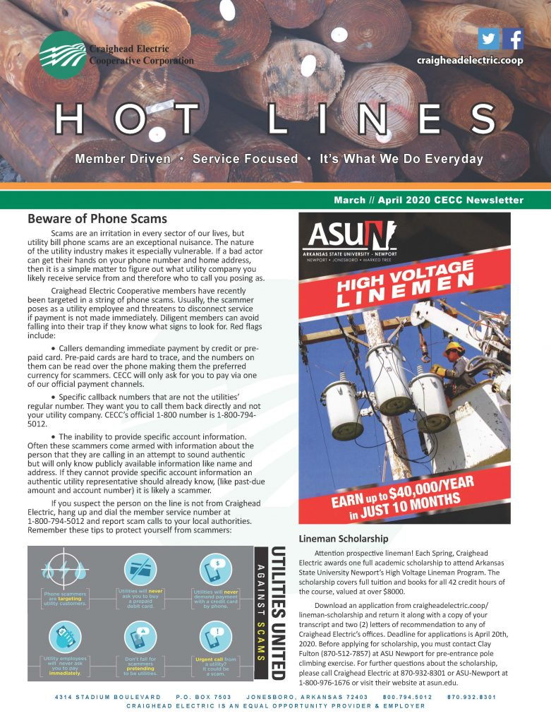 Front Page of March April Hot Lines