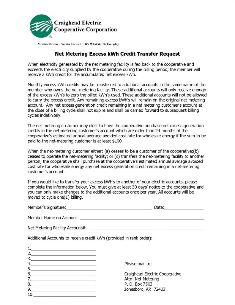 Image of Net Metering Excess kWh Credit Transfer Request updated 1-9-20