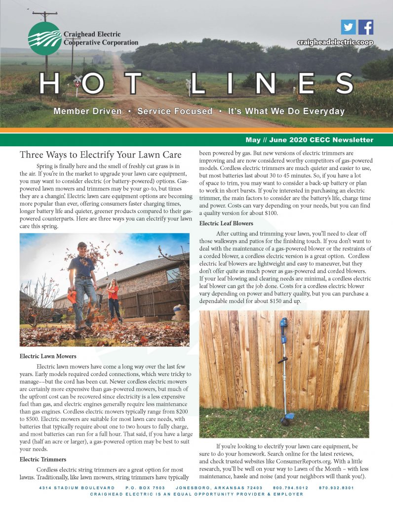 Screenshot of May June issue of Hot Lines Newsletter