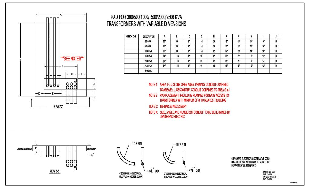 Transformer Pad Mount Specification Sheet
