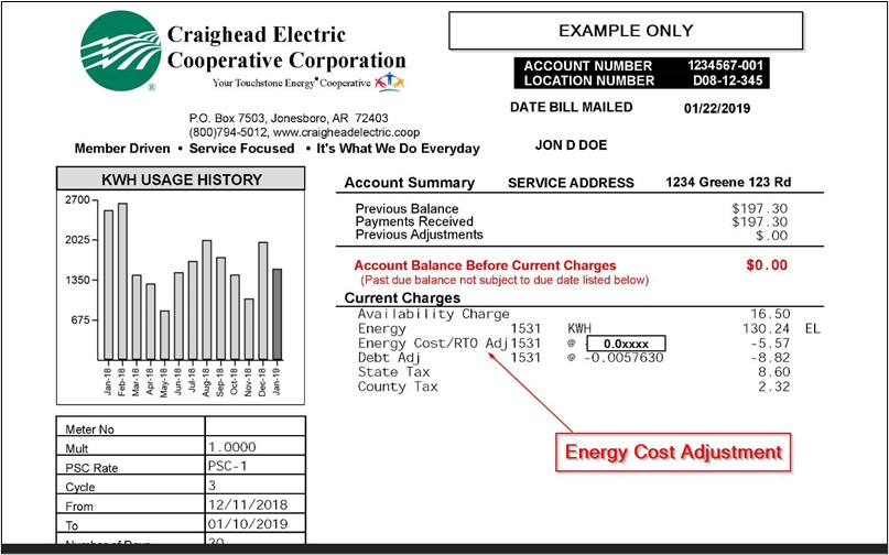 Energy Cost Adjustment to be spread out over nine electric bills